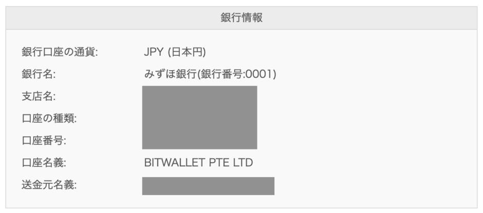 bitwalletへ銀行振込で入出金